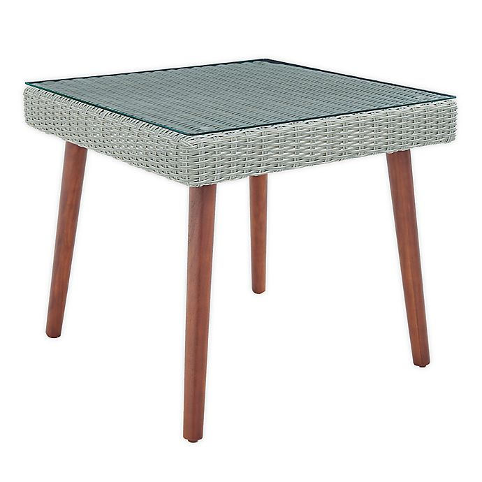 Alternate image 1 for Albany All-Weather Wicker Cocktail Table in Light Grey