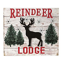 Winter Wonderland Pre-Lit 8.66-Inch x 7.48-Inch Reindeer Lodge Sign in White
