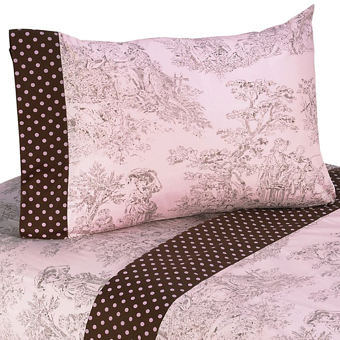 Sweet Jojo Designs French Toile And Polka Dot Sheet Set In Pink Brown Buybuy Baby