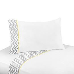 Sweet Jojo Designs Zig Zag Sheet Set in Grey/Yellow