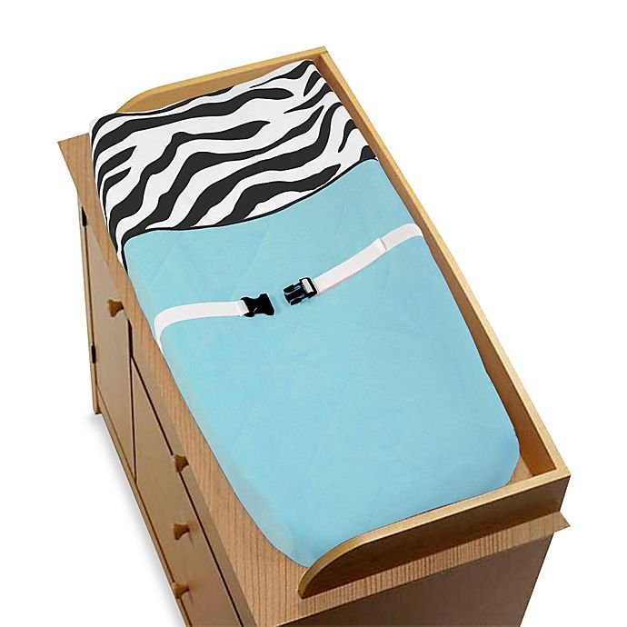 Alternate image 1 for Sweet Jojo Designs Funky Zebra Changing Pad Cover in Turquoise