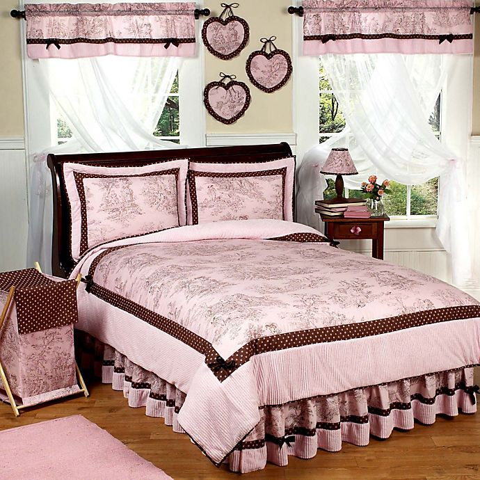 Sweet Jojo Designs French Toile And Polka Dot Bedding Collection In Pink Brown Buybuy Baby