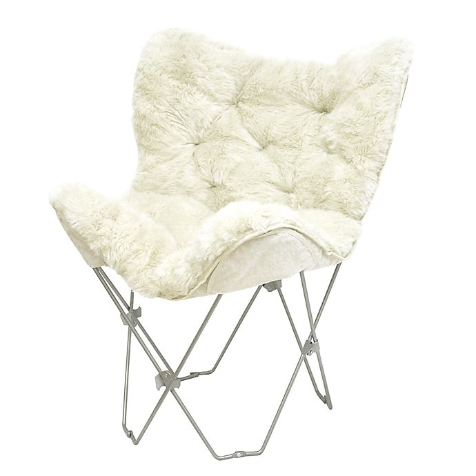 Mongolian Fur Butterfly Chair In White Bed Bath Beyond