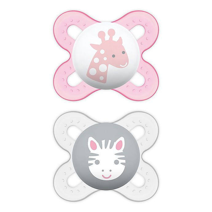 Alternate image 1 for MAM Start Size Newborn to 2 Months Pacifier in Pink/Purple (2-Pack)