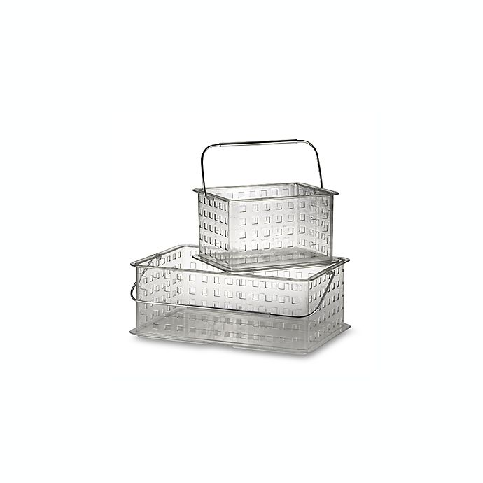 Alternate image 1 for InterDesign® Zia Clear Small Clear Storage Basket Shower Tote