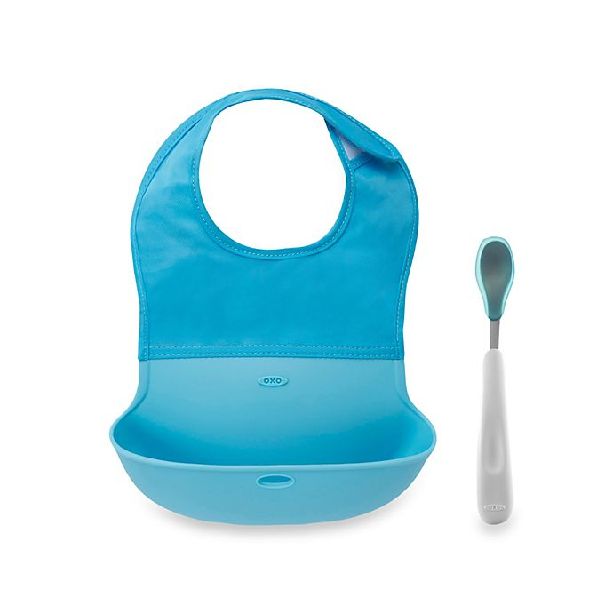 Alternate image 1 for OXO Tot® Roll Up Bib and Spoon Set in Aqua