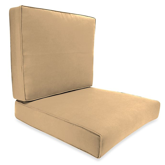 Alternate image 1 for Solid 2-Piece Deep Seat Boxed Edge Chair Cushion in Sunbrella® Canvas Camel