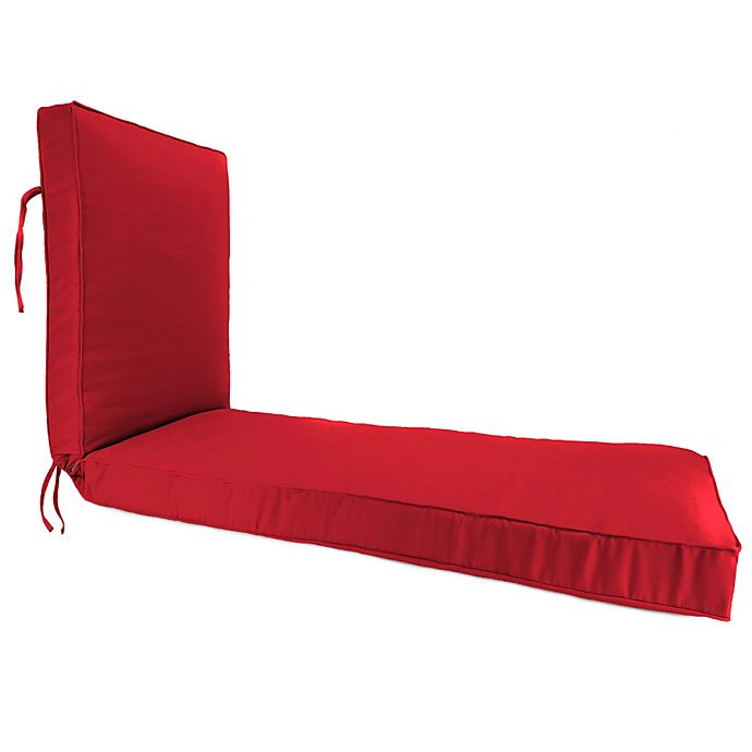 Alternate image 1 for Solid 80-Inch Boxed Edge Chaise Lounge Cushion in Sunbrella® Canvas Jockey Red