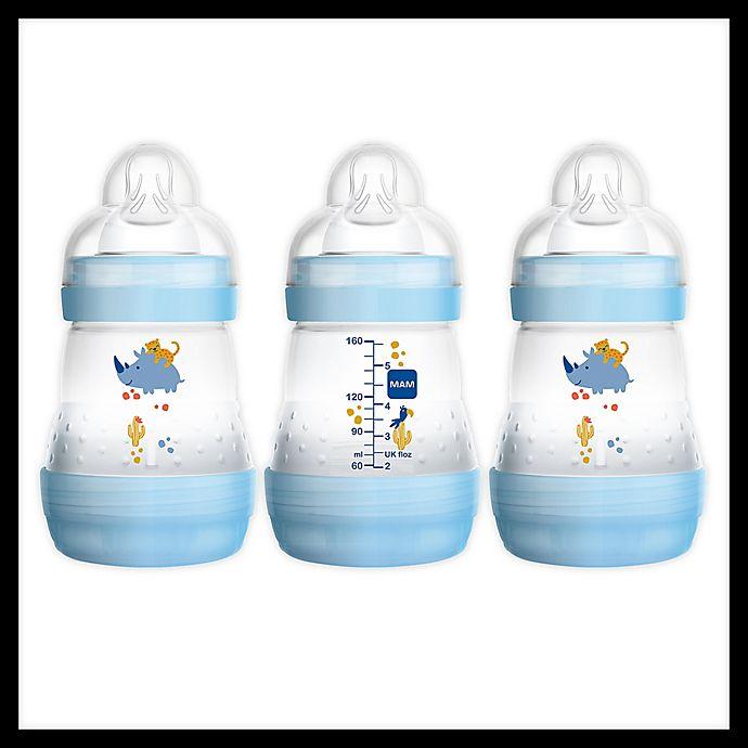 Alternate image 1 for MAM 3-Pack 9 fl. oz. Anti-Colic Bottles in Blue