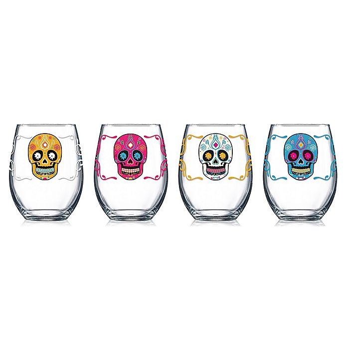 Alternate image 1 for Luminarc Sugar Skull Stemless Wine Glasses (Set of 4)