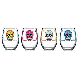 Luminarc Sugar Skull Stemless Wine Glasses (Set of 4)