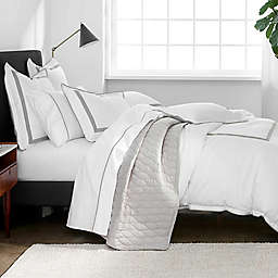 Under the Canopy® Hotel Border Organic Cotton 3-Piece King Duvet Cover Set in White/Grey
