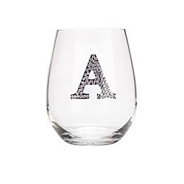 Qualia Monogram Letter Stemless Wine Glasses (Set of 4)