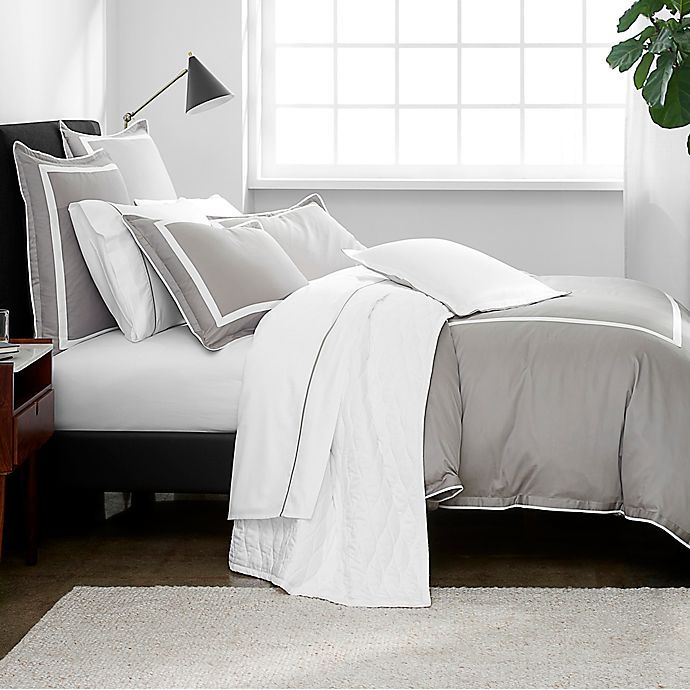 Alternate image 1 for Under the Canopy® Hotel Border Organic Cotton 3-Piece King Duvet Cover Set in Grey/White