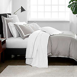 Under the Canopy® Hotel Border Organic Cotton 2-Piece Twin Duvet Cover Set in Grey/White