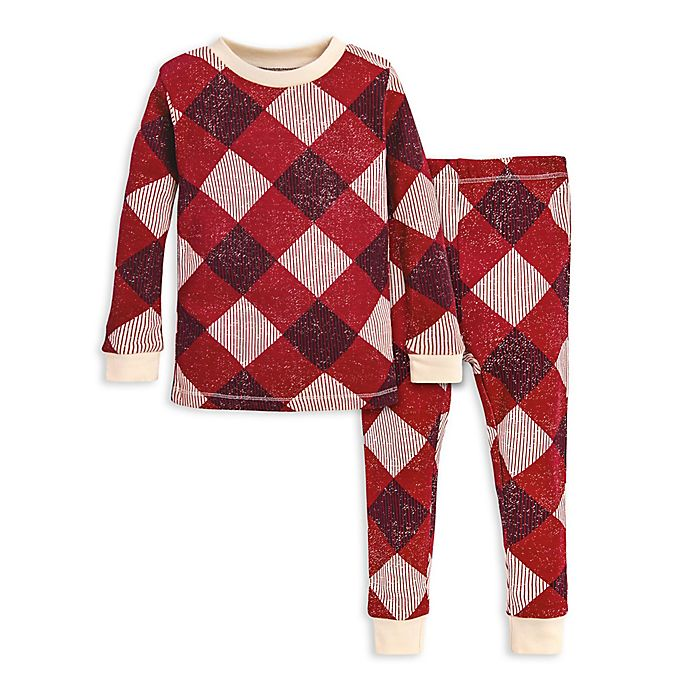 Alternate image 1 for Burt's Bees Baby® 2-Piece Abstract Argyle Organic Cotton Toddler Pajama Set