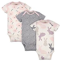 Gerber ONESIES® 3-Pack Bunny Short Sleeve Bodysuits in Pink/Grey