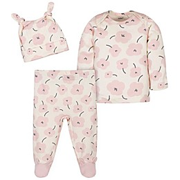 Gerber® 3-Piece Poppy Cotton Shirt, Cap, and Pant Set in Ivory