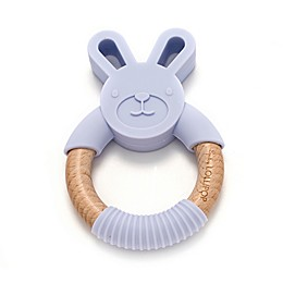 Loulou Lollipop Wood and Silicone Bunny Teether Ring
