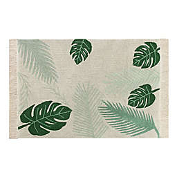 """Lorena Canals® Plants 4'7"""" X 6'7"""" Hand-Knotted Area Rug in Natural/Green"""