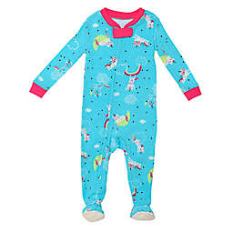 Night Life Caticorn Rainbow Zip-Front Footed Pajama in Teal