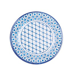 Scalloped Tile Fish Melamine Dinner Plate in White/Blue