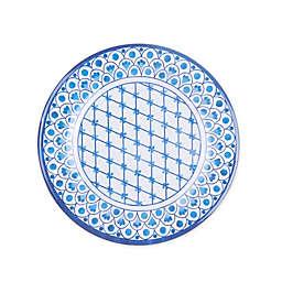 Scalloped Tile Fish Melamine Dinner Plate in White/Blue