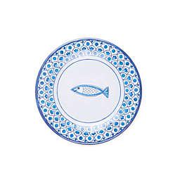 Scalloped Tile Fish Melamine Salad Plate in White/Blue