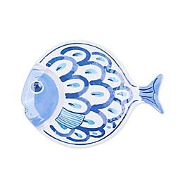 3-D Fish Melamine Small Serving Platter in White/Blue