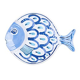 3-D Fish Melamine Large Serving Platter in White/Blue