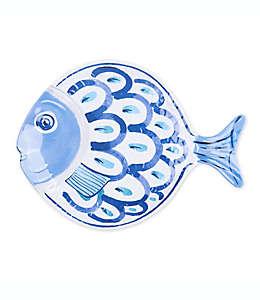 Charola grande de melamina con diseño de pez en blanco/azul