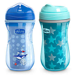 Chicco® 2-Pack 9 oz. Insulated Rim-Spout Trainer Sippy Cups in Blue/Teal