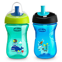 Chicco® 2-Pack 9 oz. Sport Spout Trainer Cups  in Blue/Teal