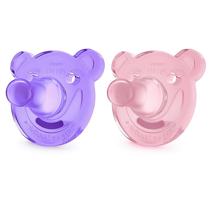 Alternate image 1 for Philips Avent 2-Pack Bear Soothie Pacifiers in Pink/Purple