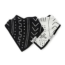 Loulou Lollipop 2-Pack Mudcloth Bandana Bibs in White/Black