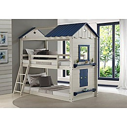 Star Gaze Twin Over Twin Bunk Bed in Light Grey/Blue
