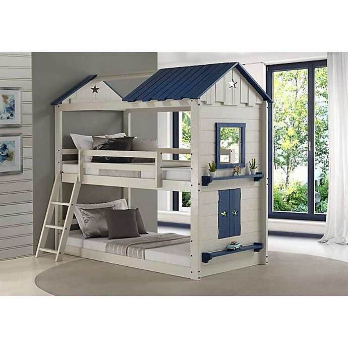 Alternate image 1 for Star Gaze Twin Over Twin Bunk Bed in Light Grey/Blue