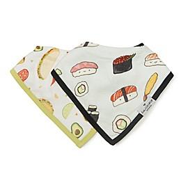 Loulou Lollipop 2-Pack Taco & Sushi Bandana Bibs in Black/Olive