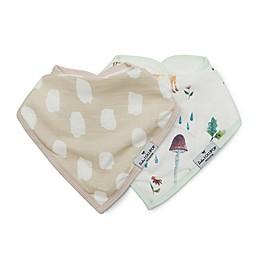 Loulou Lollipop 2-Pack Woodland Gnome Bandana Bibs in Cream/White