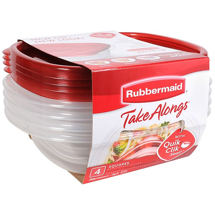 Alternate image 1 for Rubbermaid® TakeAlongs® 4-Count Square Food Containers with Lids