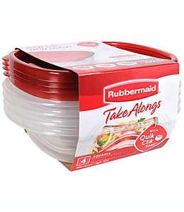 Contenedores de alimentos de plástico Rubbermaid® TakeAlongs® cuadrados, set de 4