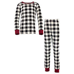 Touched by Nature Size 6-12M Organic Cotton Long Sleeve Pajama Set in Black Plaid