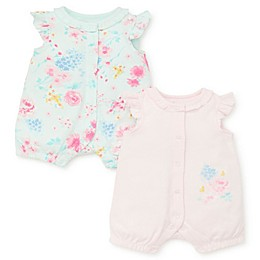 Little Me® 2-Pack Watercolor Rompers in Pink Floral