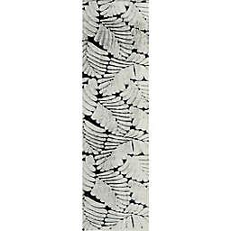 Tala 2' x 7' Powerloomed Faux Fur Runner Rug in Ivory/Grey