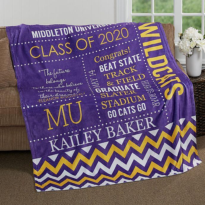 Alternate image 1 for School Memories Graduation 50-Inch x 60-Inch Fleece Throw Blanket