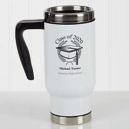 Graduation Cap 14 oz. Commuter Travel Mug in White