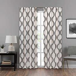 Eclipse Summit 95-Inch Rod Pocket Drift Stopper Geo Window Curtain Panel in Grey/White