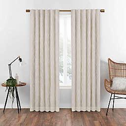 Eclipse Nora Geometric 108-Inch Rod Pocket 100% Blackout Window Curtain Panel in Linen