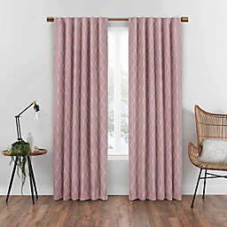 Eclipse Nora Geometric 108-Inch Rod Pocket 100% Blackout Curtain Panel in Rose (Single)