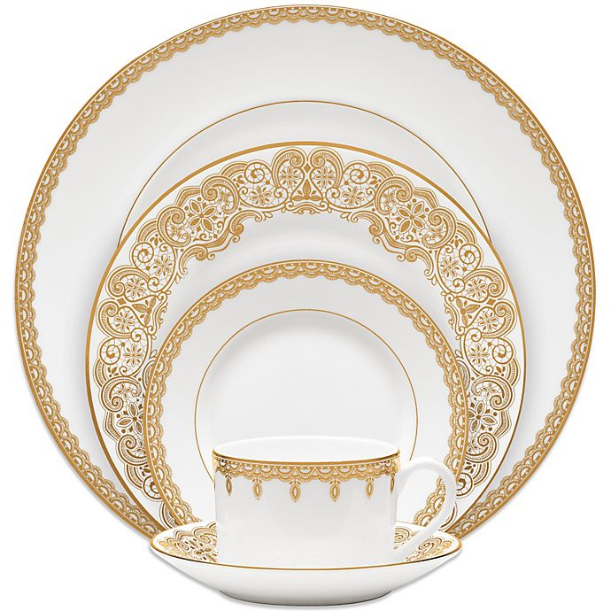 Alternate image 1 for Waterford® Lismore Lace Gold 5-Piece Place Setting